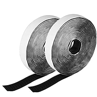 Hook and Loop Tape, Etmury Self Adhesive Sticky Tape, Heavy Duty Hook Loop Tape Reusable Double Sided Sticky Tape Roll -Black(5M)