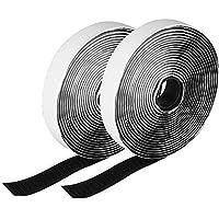 Etmury Rubans Adhésifs, Bande Adhésives [5M],Bande Agrippantes Adhésives,Ruban Scratch Hook Loop Autocollant Particulièrement Forte Force D'adhérence pour D'installations Cadre Photo-2CM x 5M (Noir)