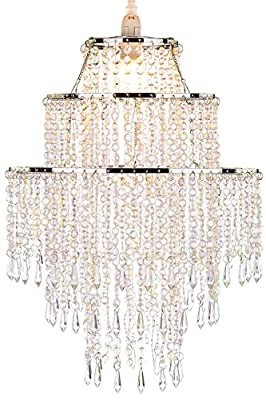 Large 3 Tiers Chrome Sparkling Beads Pendant Shade, Ceiling Chandelier Lampshade by WanEway