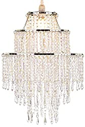 Waneway Large 3 Tiers Beads Pendant Shade, Ceiling Chandelier Lampshade with Acrylic Jewel Droplets, Beaded Lampshade with Chrome Frame and Clear Beads, Diameter 12.6 inches, Clear