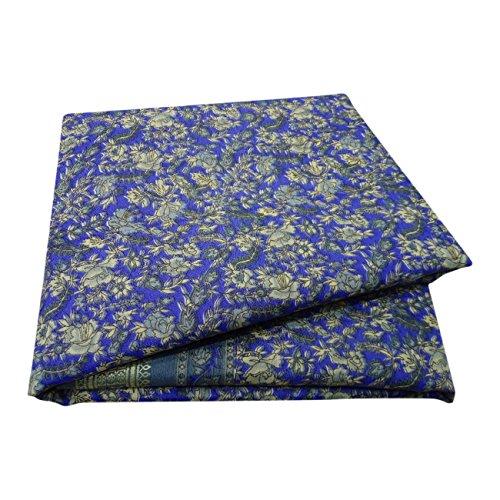 PEEGLI Jahrgang Bedruckt Saree Blau Seide Mischung DIY Recycelten Vorhang Drapieren Sari (Vorhang Drapieren Sari)