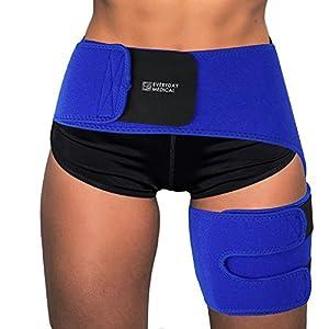 Everyday Medical Leistenbandage | Oberschenkelbandage für Gewichtverlust und Cellulitis | Oberschenkel Kompression für Männer und Frauen | Verstärkt Schwitzen und Blutzirkulation | Rechts & Links