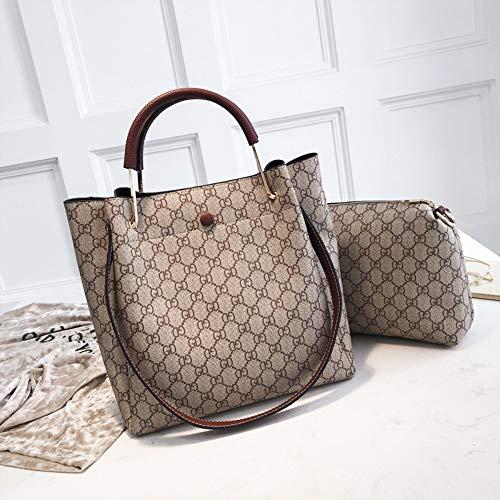 WOAIRAN Las Mujeres De Moda Bolso Vintage Handbag Impresión Bolsas Bandoleras Señoras Ocio Crossbody Conjunto 2 Piezas