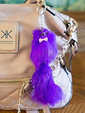 3 POUR 2 ! Big 20 cm Violet Designer Grand Charm Fur Keyring animal mignon cadeau unique chaîne Fox mignon Ferret monstre Keychain