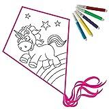 Drachen basteln: Einleiner Kinder Set zum Selber Gestalten und ausmalen (Einhorn)