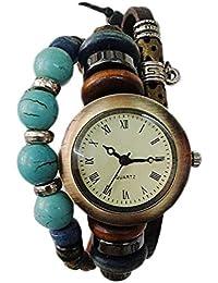 Reloj de mujer - SODIAL(R)Decoracion de timbre de perla de la vendimia de mujer Reloj de pulsera Brazalete de cuero marron
