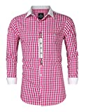 KUULEE Trachtenhemd Herren kariert Freizeithemd Landhausstil Langarmhemd Slim fit Hemd Bestickt Baumwolle - für Oktoberfest, Business, Freizeit