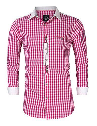 KOJOOIN Trachtenhemd kariert Herren Hemd Freizeithemd Landhausstil Langarmhemd Slim fit Hemd Bestickt Baumwolle - für Karneval, Oktoberfest, Business, Freizeit(Verpackung MEHRWEG)