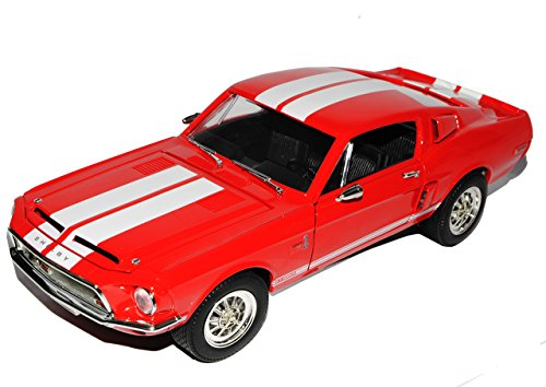 Ford Mustang Shelby GT500 1967 Eleanor Rot mit Weiss Coupe 1/18 Yatming Lucky Die Cast Modell Auto (1 18 Diecast Ford Gt)