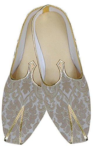 inmonarch Herren Amazing creme indischen Hochzeit Schuhe mojari mj161 Cremefarben