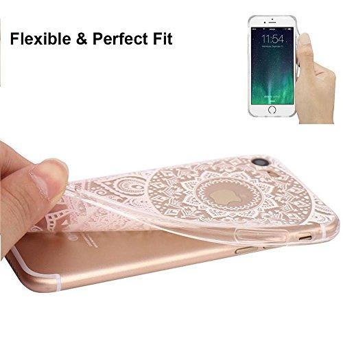 Coque iPhone 7 Plus Housse étui-Case Transparent Liquid Crystal Fleur en TPU Silicone Clair,Protection Ultra Mince Premium,Coque Prime pour iPhone 7 Plus(2016)-Blanc fleur-rose