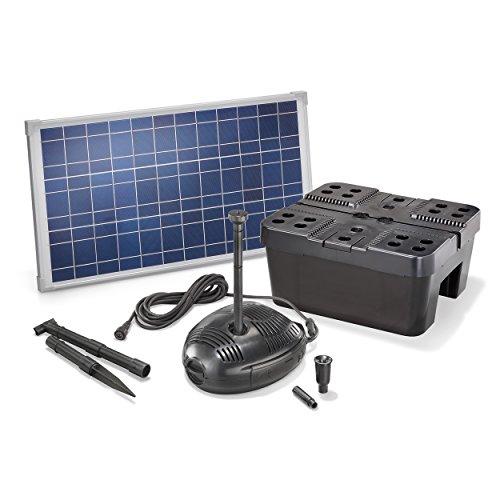Solar Teichfilterset Profi 630 l/h Förderleistung 25 W Solarmodul Komplettset bis 2000l Gartenteich 101070