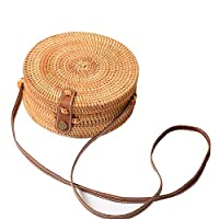 HEIRAO Round Rattan Straw Bag Retro Summer Crossbody Bag Leather Strap Adjustable Wicker Basket Beach Bags for Women Girl Beach Travel