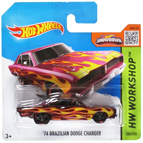 Hot Wheels Short Card HW Workshop '74 Brazilian Dodge Charger Red #206/250
