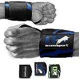 OXENSPORT Handbandage Sport & Gym, Handgelenkstütze (1 Paar) inkl. Zipbag - 3D Logo mit Daumenschlaufe - für Männer & Frauen - Bodybuilding, Krafttraining, Hanteln,Sport