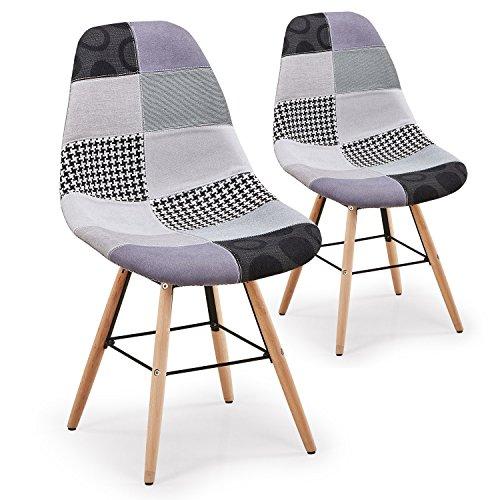 menzzo Lisa Patchwork 2Stück Stühle skandinavischen, Stoff, Grau, 53x 46x 82cm (2 Stück Wohnzimmer Chaise)
