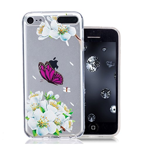 ipod-touch-6th-coque-aeequer-fleurs-blanches-pourpre-de-papillon-dessin-transparent-crystal-silicone