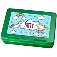 Preisvergleich für Brotdose mit Namen Patty - Motiv Einhorn, Lunchbox mit Namen, Frühstücksdose Kunststoff lebensmittelecht