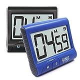 SENHAI - 2 temporizadores de cocina magnéticos digitales con anillo de alarma fuerte, cuenta atrás pantalla LCD grande temporizadores con soporte / clip, cuenta atrás 99 min 59 segundos, color negro, azul