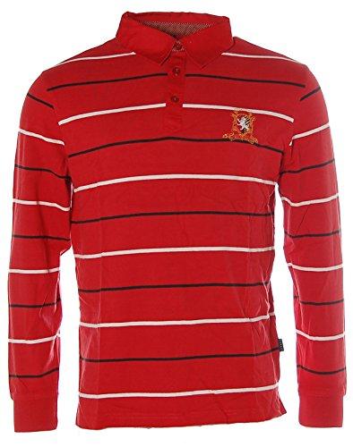 Kitaro Herren Langarm Shirt Poloshirt Polokragen Streifen First League Cardinal L