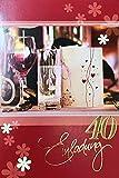 Einladungskarten 40. Geburtstag Frau Mann ohne Innentext Motiv Rotwein 10 Klappkarten im Hochformat mit weißen Umschlägen im Set Geburtstagskarten Einladung 40 Geburtstag Mann Frau K151