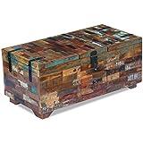 Festnight Couchtisch Truhe Beistelltisch aus Recyceltes Massivholz Kaffeetisch Holztisch Wohnzimmertisch 80x40x35cm