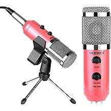 Neewer NW-300E Profesional Micrófono de condensador USB con Clip sostenedor de mariposa color rojo , soporte en trípode de sobremesa, XLR hembra a USB y 3.5MM macho del Cable del divisor y espuma tipo bola anti viento