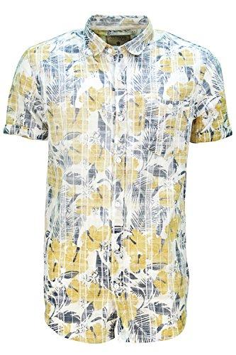 Herren Soulstar Waiki Baumwollhemd Blumenmuster Kariert Bedruckt Geknöpfter Kragen Top Gelb