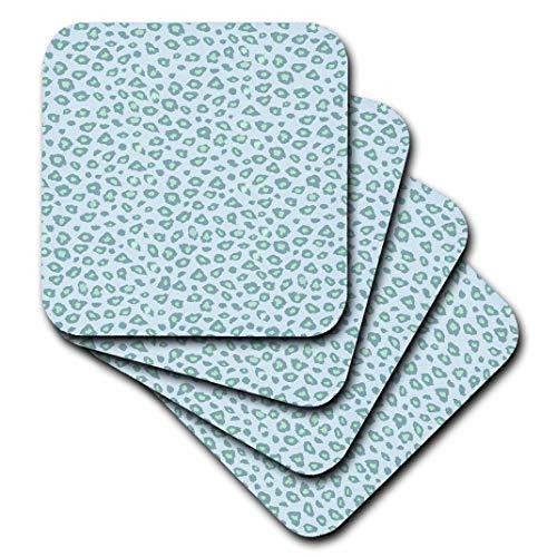 3dRose CST 192850PS Tiere–Minz und Blau Leopard Print–Untersetzer, grün, set-of-8-Soft