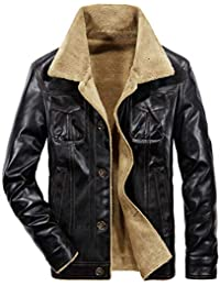 9f8fc14dc72 JIINN Winter Mens Thicker Warm Military Bomber Faux Leather Jacket Parka  Plus Velvet Lined Air Force