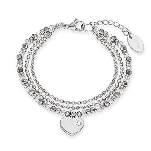 s.Oliver Damen-Armband Herz Edelstahl Glas mehrfarbig 20 cm-2012530