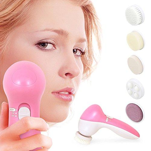 Incutex 5-in-1 elektrische Gesichtsreinigungbürste Gesichtspflege-Set Gesichtsmassagegerät inkl. 5 Aufsätze