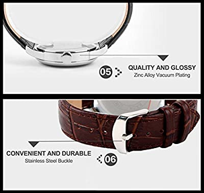 CIVO Men's Luxury Brown Genuine Leather Band Date Calendar Wrist Watch Mens Casual Business Analogue Quartz Waterproof Wrist Watches Classic Roman Numeral Simple Design Fashion Dress Wristwatch