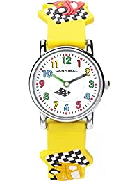 Cannibal Kid's Quartz Watch with White Dial Analogue Display and Yellow Resin Strap CK198-18