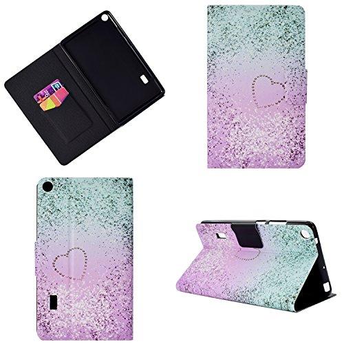 Pad T3 7.0 WiFi Hülle - Ultra Dünn Leicht PU Leder Tasche Schutzhülle mit Kartenfächer und Ständer für Huawei MediaPad T3 7.0 Zoll WiFi Tablet(BG2-W09), Rosa Herzen ()