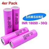 4x Samsung SDI INR18650-30Q - Akku - 3.7V - 3000mAh - 15A - Ideal für E-Zigarette Werkzeug E-Bike Notebook Modellbau