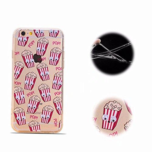ngKun TPU Silikon [Bewegliche Augen] Malerei Handyhülle für iPhone 6S 6 Schutzhülle Transparent Muster Pattern Weich Case Cover - Popcorn ()