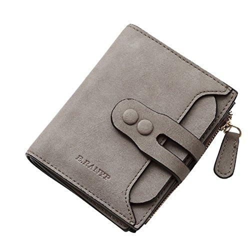 Damen Brieftasche, Tezoo Geldbeutel aus Leder Multifunktion mit Reißverschluss Knopf Große Kapazität Portemonnaie Geldbörse Mappe Geldtasche Wallet Grau (Brieftasche Mit Reißverschluss)