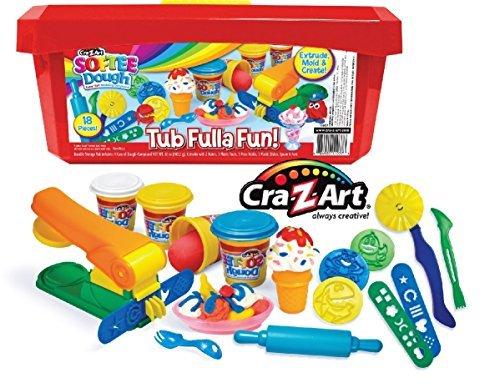 cra-z-art-softee-dough-super-soft-modeling-compound-tub-fulla-fun-18-piece-bucket-red
