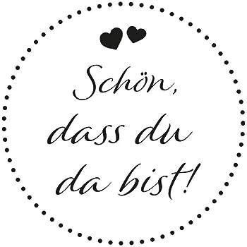 B/ütic Sch/ön-Stempel Holzstempel Rundstempel Durchmesser:/Ø 30mm Stempeltext:Sch/ön.DASS du da bist!