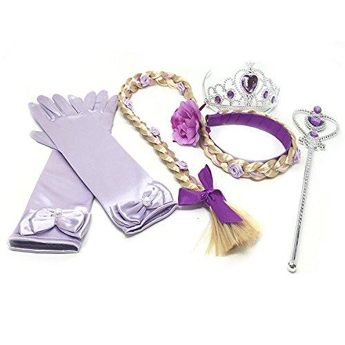 GenialES 4Pcs Prinzessin Verkleiden Dress Up Handschuhe Lila Diadem Perücke Zauberstab für Geburtstag Halloween Karneval-Partei Cosplay (Lila Mädchen Perücke)