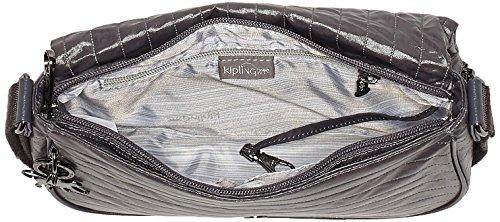 Kipling Damen Earthbeat S Umhängetasche, 26x17x0.1 cm Grau (Shiny Grey)