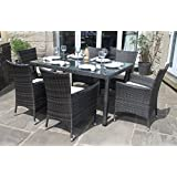 Weatherproof Rattan 6 Seater Garden Furniture Dining Set in Mixed Brown