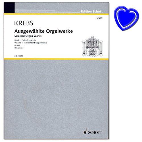 Krebs - Ausgewählte Orgelwerke - Band 1: Freie Orgelwerke - Hreausgegeben von Felix Friedrich - Noenbuch mit bunter herzförmiger Notenklammer