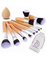 Start Makers Kit de 11PCS Pinceaux Maquillage ( pour le teint et les yeux ) les yeux très doux avec un manche bambou Pinceau Professionnel & une éponge à fond de teint