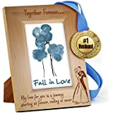 TiedRibbons® Karva Chauth Special Wooden Engraved Frame With Golden Medal | Karwachauth Special Gifts For Men | Karwachauth Special Gifts For Husband | Gifts For Men On Karwachauth