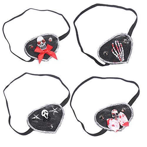 Joyibay 4 Stücke Piraten Augenklappe Kreative Scary Print Piraten Maske Mitbringsel für Halloween -