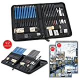 42 pcs Crayons de Dessin et Kit de Croquis Professionnels - avec Coffrets, Carnet de croquis de 2 * 50 pages, Outils et Gomme, Crayons de Croquis Idéal pour Artistes, Ėtudiants, Débutants