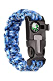 Paracraft Paracord 550 Hiking Camping Bracelet with Compass,Whistle-Blue Camo