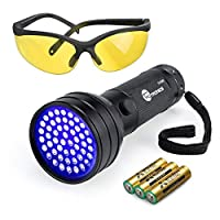 ‏‪TaoTronics Black Light, UV Flashlights 51 Ultravilot Urine Detector for dogs, UV Sunglasses and Duracell Batteries included, Pet Stain Detector, Dog Urine Remover, Bed Bug Detector‬‏